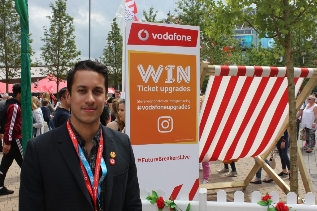 Daniel Underwood, Vodafone at Vodafone's brand activation en route to the Summertime Ball