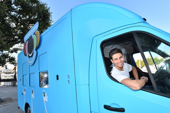 EDITORIAL USE ONLY Joey Essex unveils the new Oreo Flavour Mobile on London's Southbank to celebrate the launch of two new flavours, Mint and limited edition Strawberry Cheesecake. PRESS ASSOCIATION Photo. Picture date: Friday August 26, 2016. The Oreo Flavour Mobile will visit seven cities and three festivals across the country this autumn including London, Cardiff, Bath, Birmingham, Manchester, Liverpool, Leeds and Newcastle, as well as Bestival, SouthWestFour and House of Common festivals. Photo credit should read: Matt Crossick/PA Wire