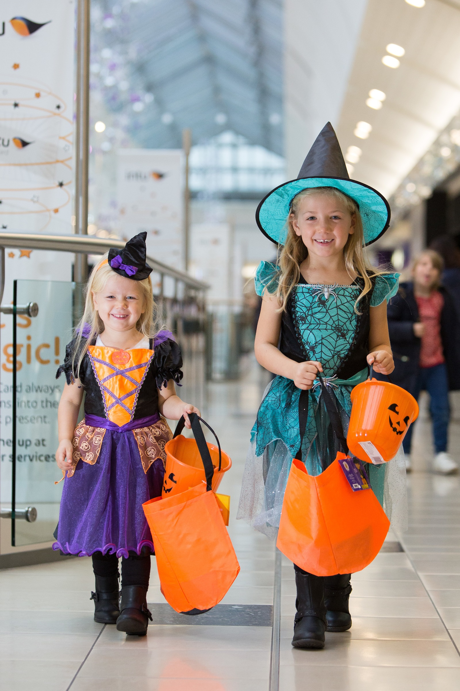 Eva (3) & Georgia (6) Caulfield taking part in the big trick or treat event at intu Lakeside