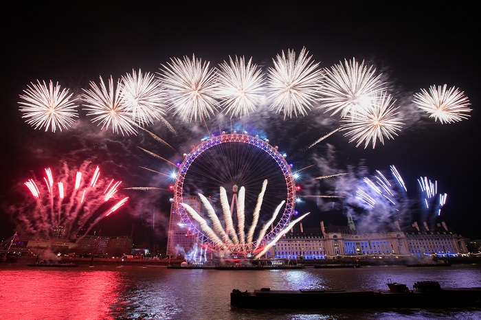 New Years Eve 2017 Fireworks display at the London Eye, from Embankment.