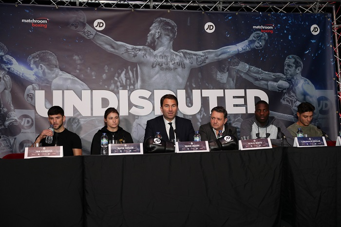 O2 BOXING PRESS CONFERENCE 02,LONDON PIC;LAWRENCE LUSTIG MATCHROOMS EDDIE HEARN ANNOUNCES A NEW SPONSORSHIP DEAL WITH STEVE WHITE OF JD SPORTS AND BOXERS JOEY CORDINA,KATIE TAYLOR,LAWRENCE OKOLI E AND JOSH KELLY