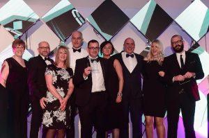 Sunderland Echo Portfolio Awards 2017 at the Stadium of Light. Employer of the Year award winners The Bridges presented by Bryn Littleton of CREO (right)