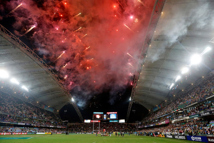 Rugby Union - Hong Kong Sevens Final - Hong Kong Stadium, Hong Kong, China - 9/4/2017 - Fireworks explode during the prize presentation ceremony for the final. REUTERS/Bobby Yip