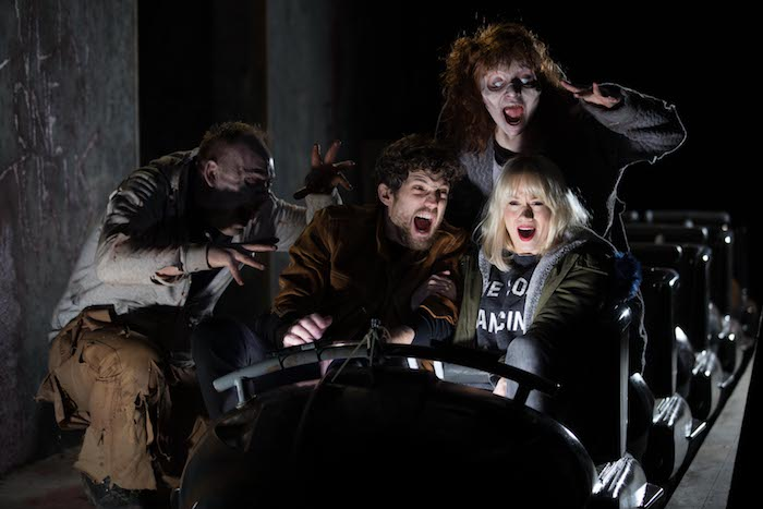 EDITORIAL USE ONLY Kimberly Wyatt and Max Rogers visit THORPE PARK Resort to try its newest attraction The Walking Dead: The Ride, the UK's first rollercoaster that charges mobile devices with the screams of its guests and vibrations from the experience, Surrey. PRESS ASSOCIATION Photo. Picture date: Monday March 26, 2018. Research has found that running out of battery life on phones is the biggest phobia for nearly three-quarters of millennials. Photo credit should read: David Parry/PA Wire