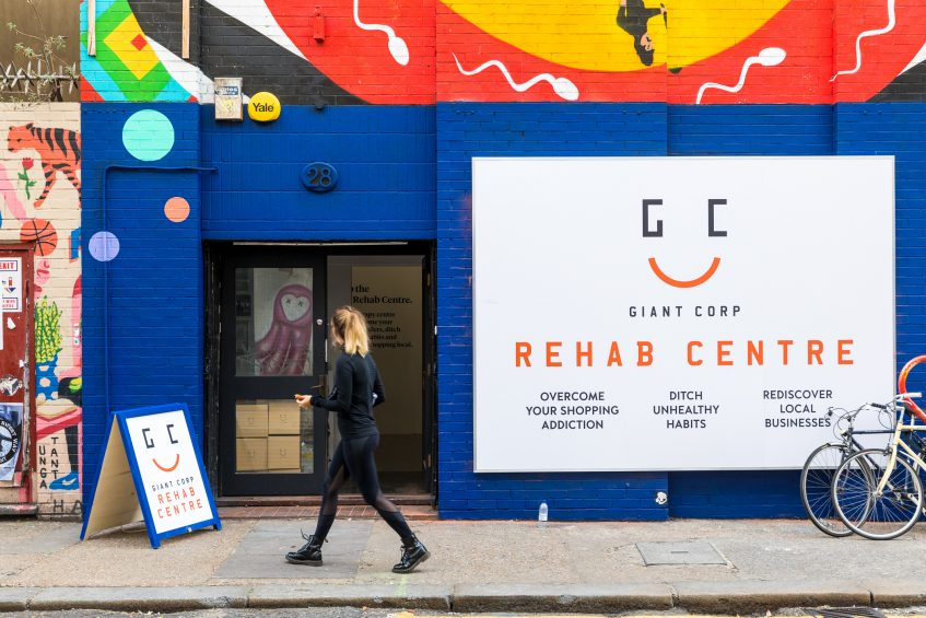 iZettle opens the world's first Giant Corp Rehab Centre, a place that provides online shopping addicts with therapy aimed to curb people's 'buy it now' shopping habits and encourages consumers to shop locally and support independent businesses.