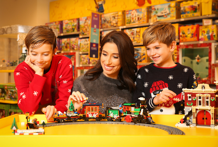 EDITORIAL USE ONLY Stacey Solomon builds her Christmas wildest wishes ahead of the LEGO Imaginarium opening this weekend. The free two-day event on London's South Bank combines AR (augmented reality) with physical builds bringing families' wildest wishes for Christmas to life.