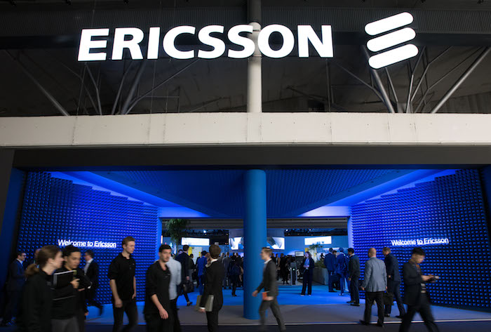 Ericsson stand at the Mobile World Congress 2019 in Barcelona on Monday the 25th of February 2019.