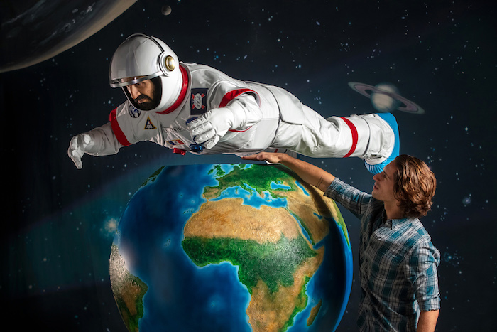 Eric Cantona has announced he is going to space to prove that Kronenbourg is 'le taste supreme' in the universe. To commemorate Cantona's space odyssey, Kronenbourg has created the world's first levitating monument. A lifelike sculpture of Eric Cantona in a spacesuit appears to defy gravity as it floats above the Earth. State-of-the-art magnetic levitating technology makes the Cantona sculpture appear weightless, just like an astronaut floating in space.