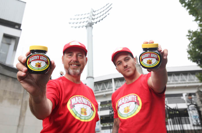 EDITORIAL USE ONLY Fans of Marmite and English cricket (left to right) Simon Chapman and Sam Fantis have formed the 'Marmy Army', whose mission it is to persuade visiting Australian fans to give the British spread a try ahead of the upcoming Test cricket series at Lord's Cricket Ground, London. PRESS ASSOCIATION Photo. Issue date: Wednesday July 31, 2019. The 'Marmy Army' will be giving out complimentary jars of Marmite at grounds that feature over the six-week test series. Photo should read: Matt Alexander/PA Wire