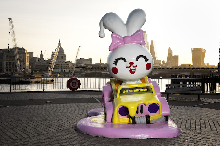 *** FREE FOR EDITORIAL USE *** Burger King has installed a giant melting bunny on the Southbank, marking the launch of its Meltdown – a nationwide toy amnesty, as it today announces the removal of all plastic toys from its King Junior meals.