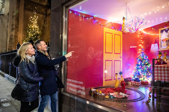 ### Strictly Embargoed Until 00:01 on 02/12/2019 ###r*** FREE FOR EDITORIAL USE ***rFOR EDITORIAL USE ONLY - Beano has continued its rubber chicken Christmas tradition with a brand new window instillation, unveiled yesterday at their Fleet Street office. One lucky fan can win a bundle of Beano goodies and have their own rubber chicken design featured in the window display by entering a competition in the digital advent calendar on Beano.com.